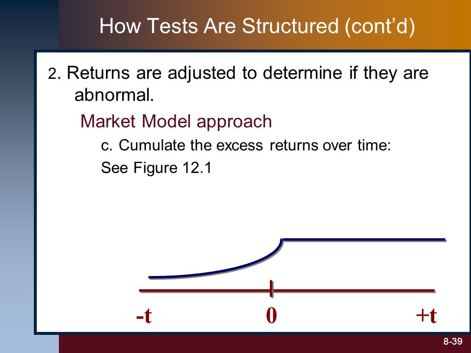 8-39 2. Returns are adjusted to determine if they are abnormal. Market Model approach c.Cumulate the excess returns over time: See Figure 12.1 0+t-t H