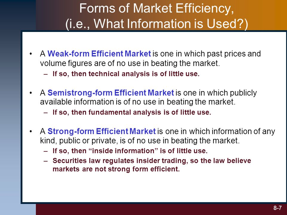 8-7 Forms of Market Efficiency, (i.e., What Information is Used?) A Weak-form Efficient Market is one in which past prices and volume figures are of n