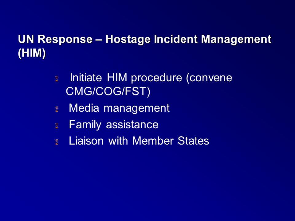 UN Response – Hostage Incident Management (HIM)  Initiate HIM procedure (convene CMG/COG/FST)  Media management  Family assistance  Liaison with M