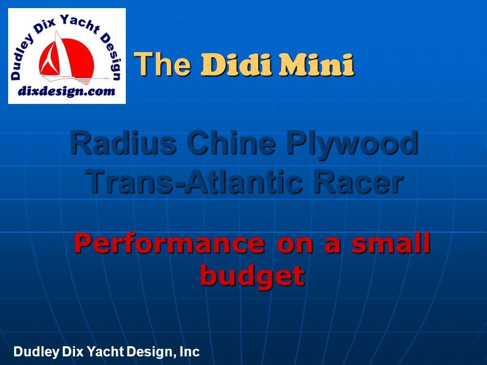 Didi 34 LOA 10.5m [34' 5 ] LWL 9.6m [31' 6 ] Beam 3.4m [11' 2 ] Draft 2.25m [6' 3 ] Displ IMS 3.6 tons Displ sailing 4.3 tons Ballast 1.73 tons Ballast ratio 48% Displ/LWL 135 Dudley Dix Yacht Design, Inc
