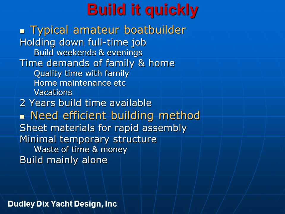 At minimal cost Typical amateur boatbuilder Typical amateur boatbuilder Limited funds available Build with minimal facilities No costly toolingsNo costly toolings No costly equipmentNo costly equipment Efficient material usageEfficient material usage No spare cash to pay professionals Exotic materials out of the question Dudley Dix Yacht Design, Inc