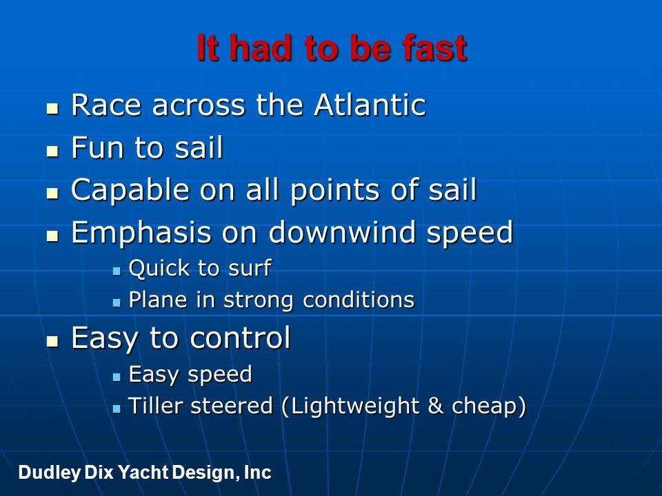 Didi Mini LOA 6.5m [21' 4 ] LWL 6.45m [21' 2 ] Beam 3.0m [9' 10 ] Draft 2.0m [6' 7 ] Displ light 0.85 tons Displ to DWL 1.05 tons Ballast 0.32 tons Ballast ratio 38% Displ/LWL 109 Dudley Dix Yacht Design, Inc