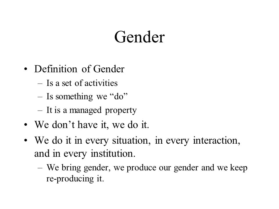 Gender Identity Based on differences Based on power