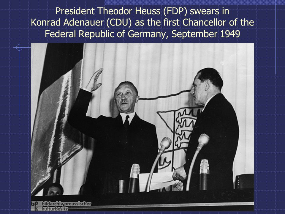 President Theodor Heuss (FDP) swears in Konrad Adenauer (CDU) as the first Chancellor of the Federal Republic of Germany, September 1949