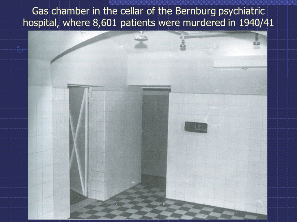 Gas chamber in the cellar of the Bernburg psychiatric hospital, where 8,601 patients were murdered in 1940/41