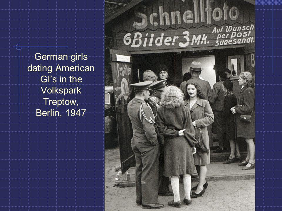 German girls dating American GI's in the Volkspark Treptow, Berlin, 1947