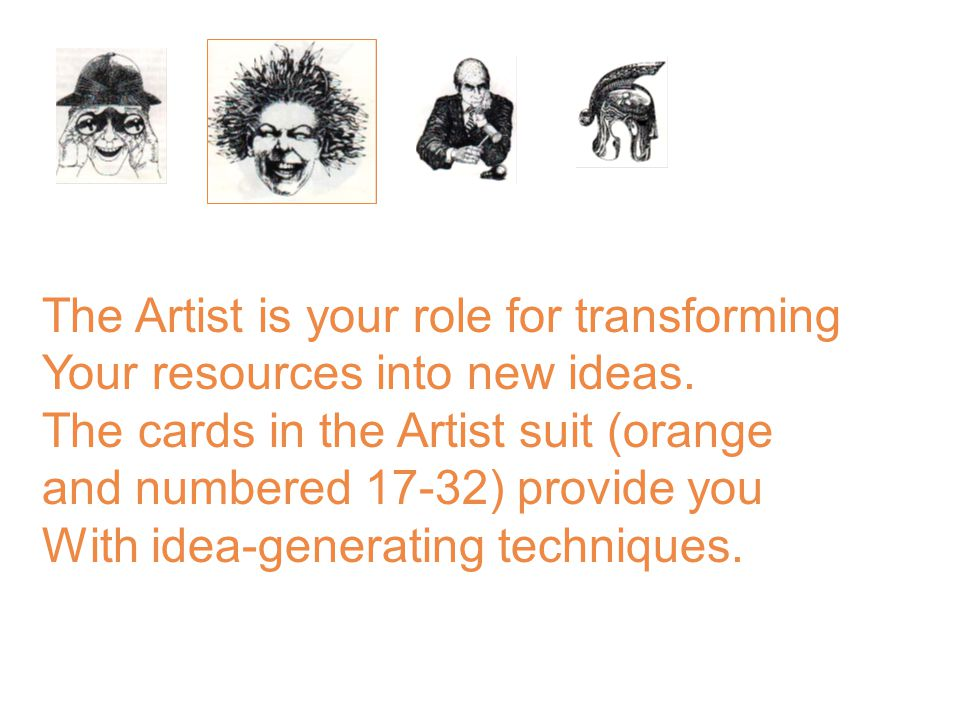 The Artist is your role for transforming Your resources into new ideas.