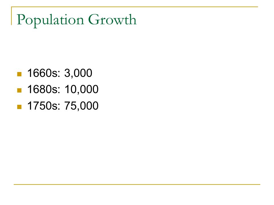 Population Growth 1660s: 3,000 1680s: 10,000 1750s: 75,000