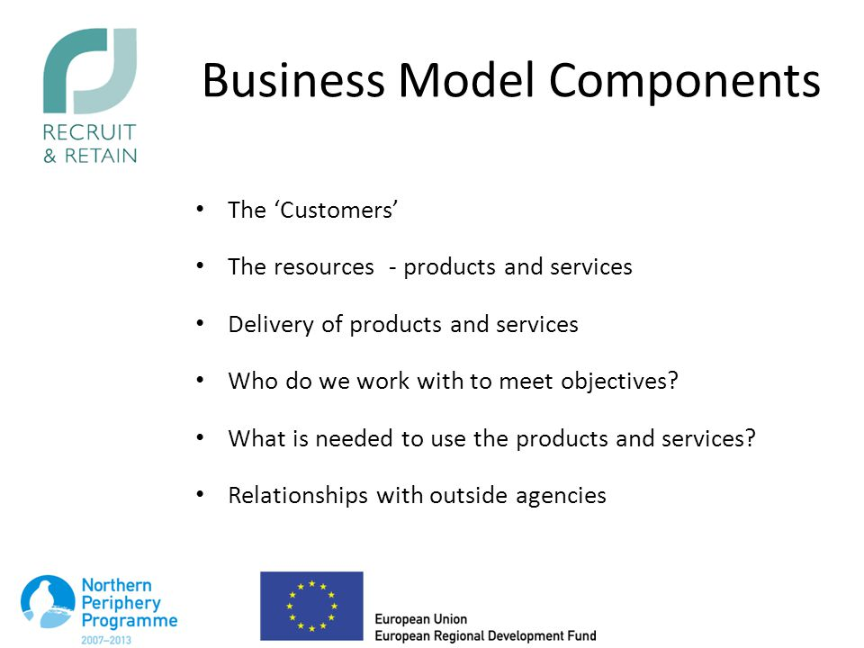 Business Model Components The 'Customers' The resources - products and services Delivery of products and services Who do we work with to meet objectives.