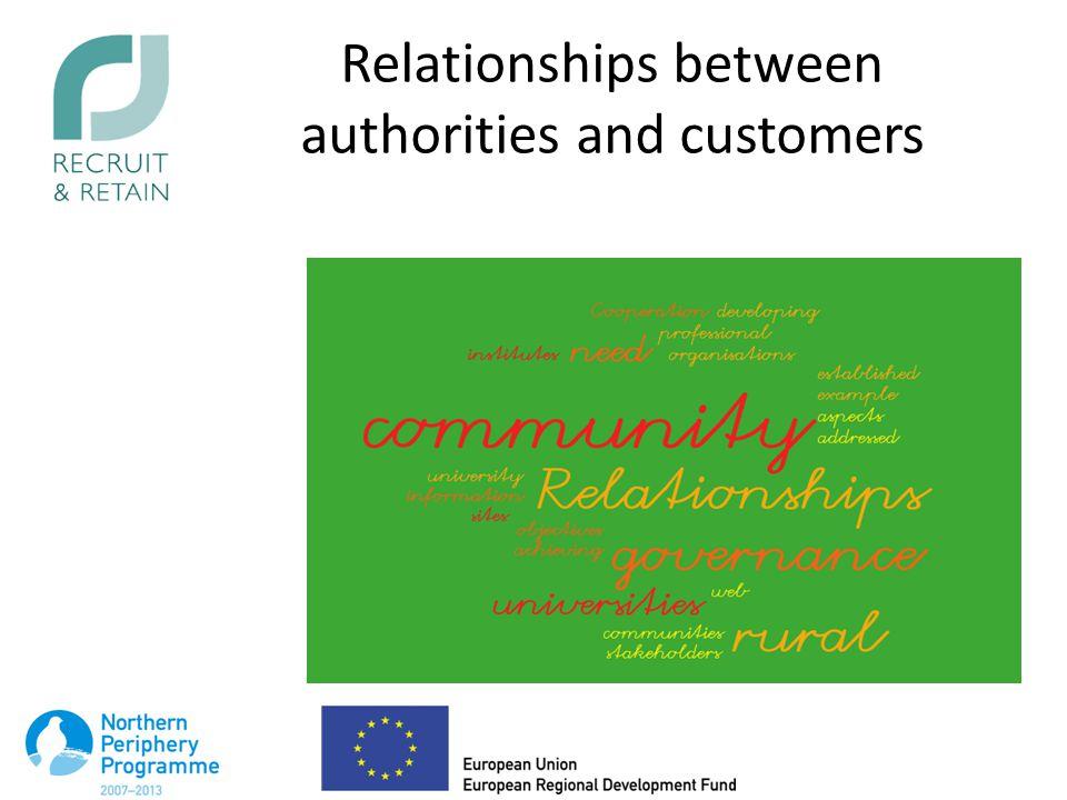 Relationships between authorities and customers