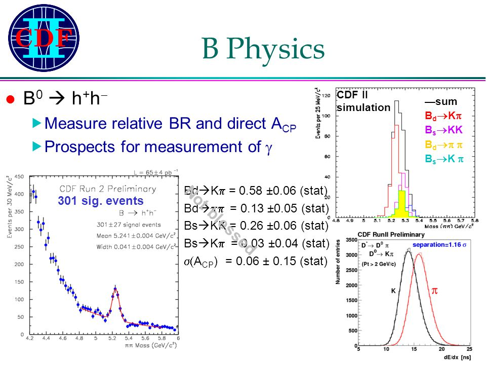 Franco Bedeschi – INFN-Pisa Gruppo1 – 13 Maggio 2003 B Physics B 0  h + h   Measure relative BR and direct A CP  Prospects for measurement of  301 sig.