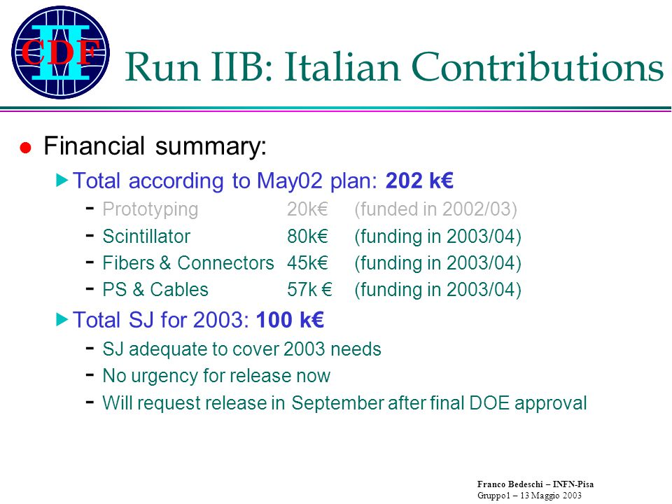 Franco Bedeschi – INFN-Pisa Gruppo1 – 13 Maggio 2003 Run IIB: Italian contributions EM calorimeter timing:  Key to improve cosmic background rejection in  +MET events - Increase efficiency at low  momentum (no need to leak into Hadron Calorimeter)  X 30 yield of Z   X 2-5 GSMB SUSY processes with N 2   G final states Run II x30 run 1 acceptance Run 1 ~ ~