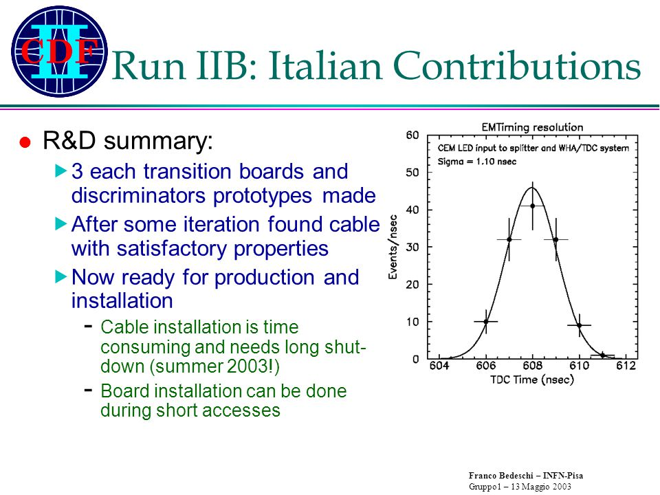 Franco Bedeschi – INFN-Pisa Gruppo1 – 13 Maggio 2003 Run IIB: Italian Contributions R&D summary:  3 each transition boards and discriminators prototypes made  After some iteration found cable with satisfactory properties  Now ready for production and installation - Cable installation is time consuming and needs long shut- down (summer 2003!) - Board installation can be done during short accesses