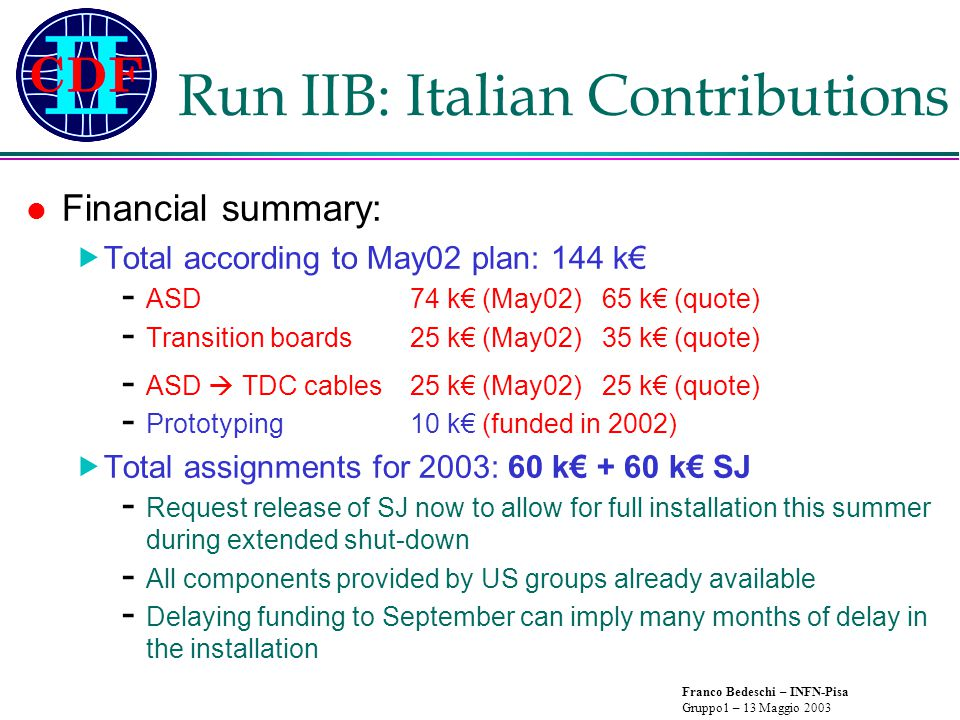 Franco Bedeschi – INFN-Pisa Gruppo1 – 13 Maggio 2003 Run IIB: Italian Contributions Financial summary:  Total according to May02 plan: 144 k€ - ASD74 k€ (May02) 65 k€ (quote) - Transition boards25 k€ (May02)35 k€ (quote) - ASD  TDC cables25 k€ (May02)25 k€ (quote) - Prototyping10 k€ (funded in 2002)  Total assignments for 2003: 60 k€ + 60 k€ SJ - Request release of SJ now to allow for full installation this summer during extended shut-down - All components provided by US groups already available - Delaying funding to September can imply many months of delay in the installation