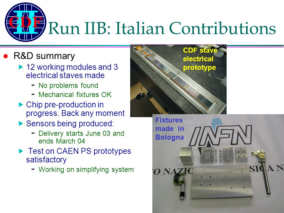 Franco Bedeschi – INFN-Pisa Gruppo1 – 13 Maggio 2003 Run IIB: Italian Contributions R&D summary  12 working modules and 3 electrical staves made - No problems found - Mechanical fixtures OK  Chip pre-production in progress.