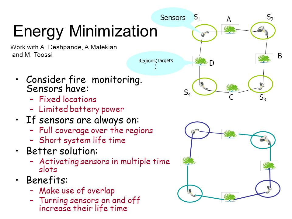 Energy Minimization Consider fire monitoring.
