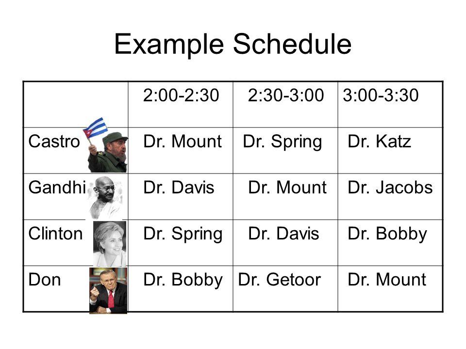 Example Schedule 2:00-2:30 2:30-3:003:00-3:30 Castro Dr.