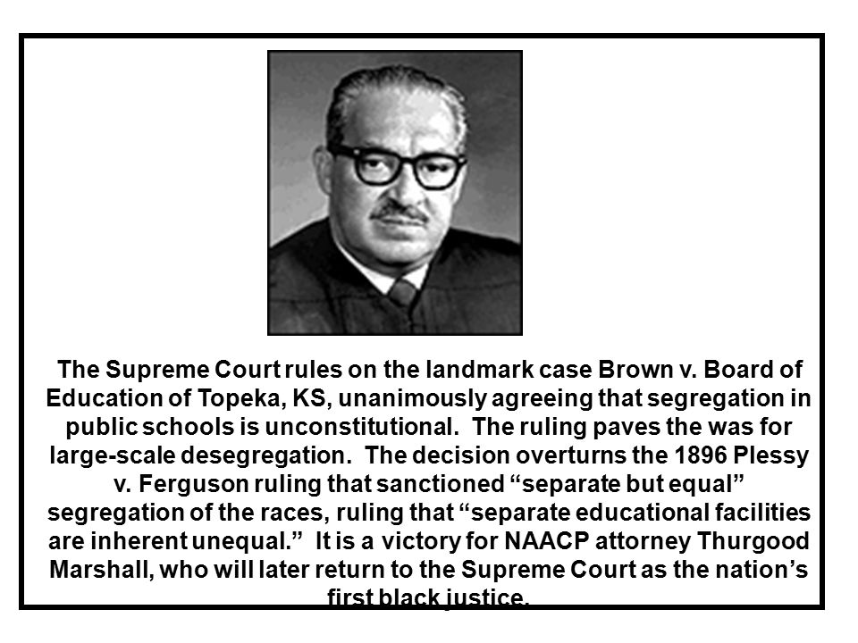 The Supreme Court rules on the landmark case Brown v.