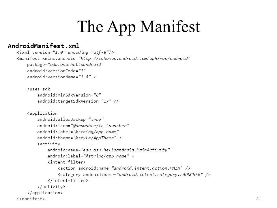 The App Manifest <manifest xmlns:android=