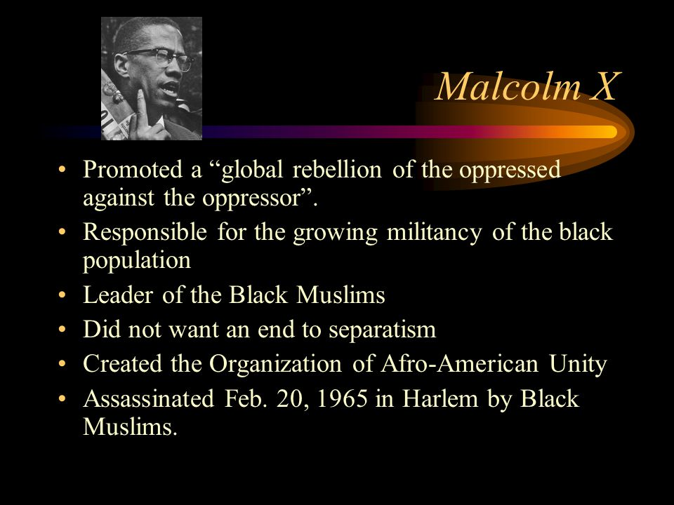 Malcolm X Promoted a global rebellion of the oppressed against the oppressor .