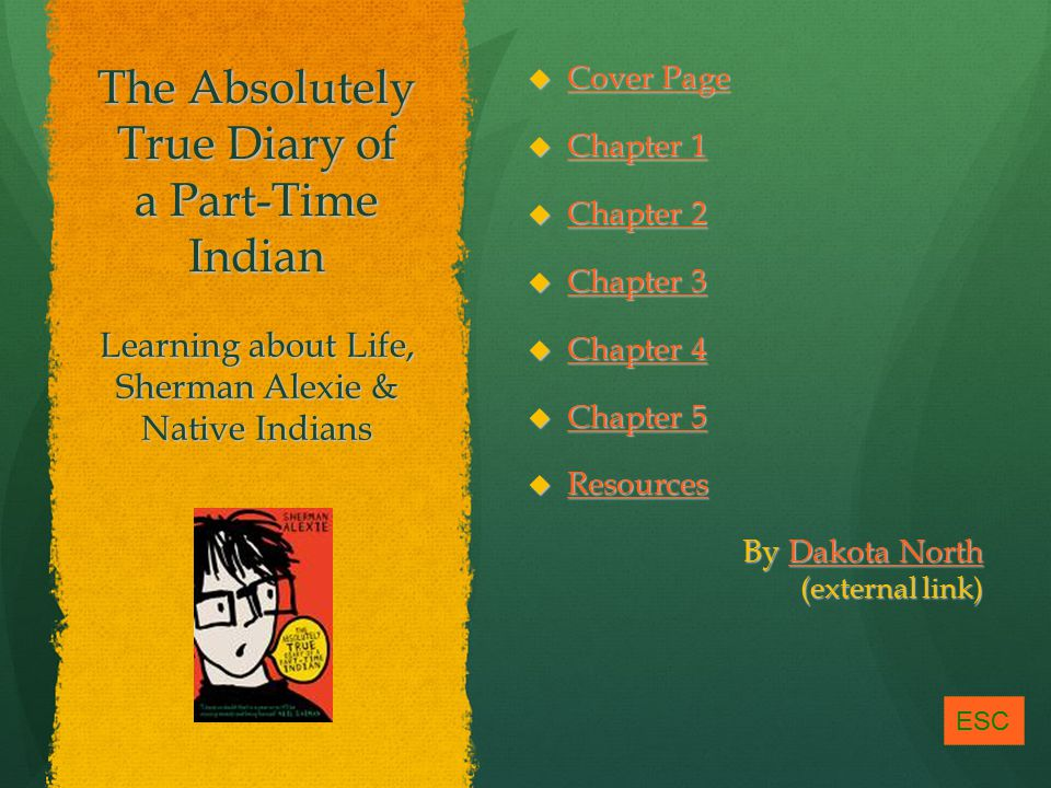 The Absolutely True Diary of a Part-Time Indian  Cover Page Cover Page Cover Page  Chapter 1 Chapter 1 Chapter 1  Chapter 2 Chapter 2 Chapter 2  Chapter 3 Chapter 3 Chapter 3  Chapter 4 Chapter 4 Chapter 4  Chapter 5 Chapter 5 Chapter 5  Resources Resources By Dakota North (external link) Dakota NorthDakota North Learning about Life, Sherman Alexie & Native Indians ESC