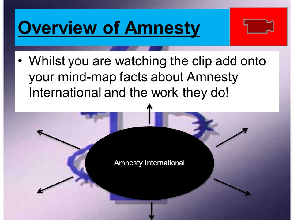 Overview of Amnesty Whilst you are watching the clip add onto your mind-map facts about Amnesty International and the work they do! Amnesty Internatio
