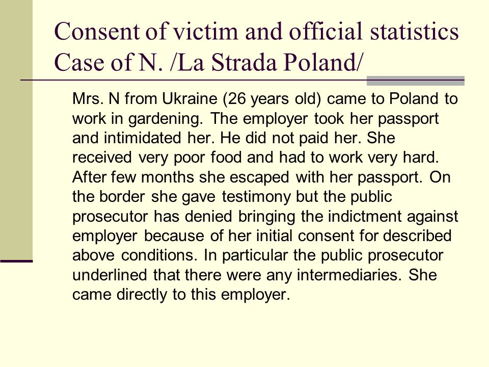 Finished criminal proceedings on trafficking in Poland