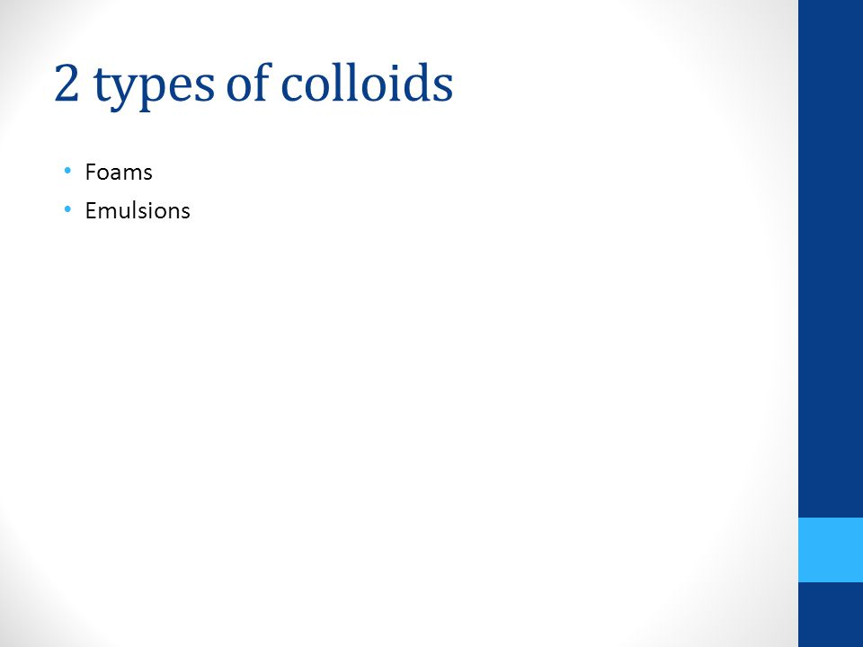 2 types of colloids Foams Emulsions