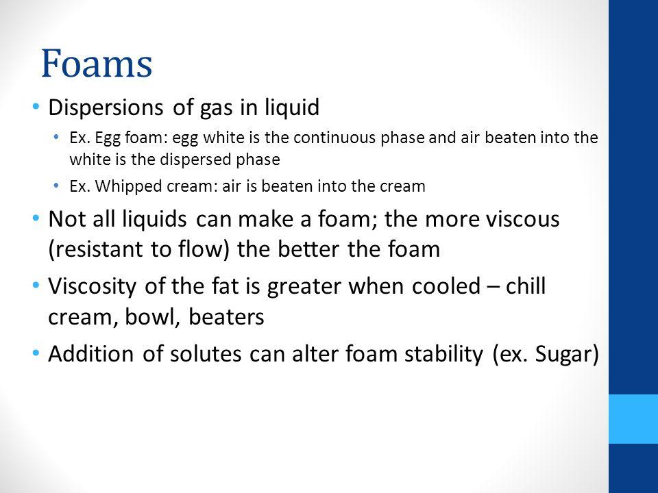 Foams Dispersions of gas in liquid Ex.