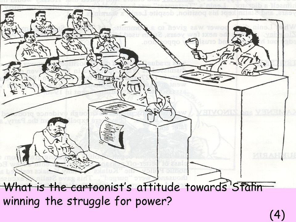 What is the cartoonist's attitude towards Stalin winning the struggle for power (4)