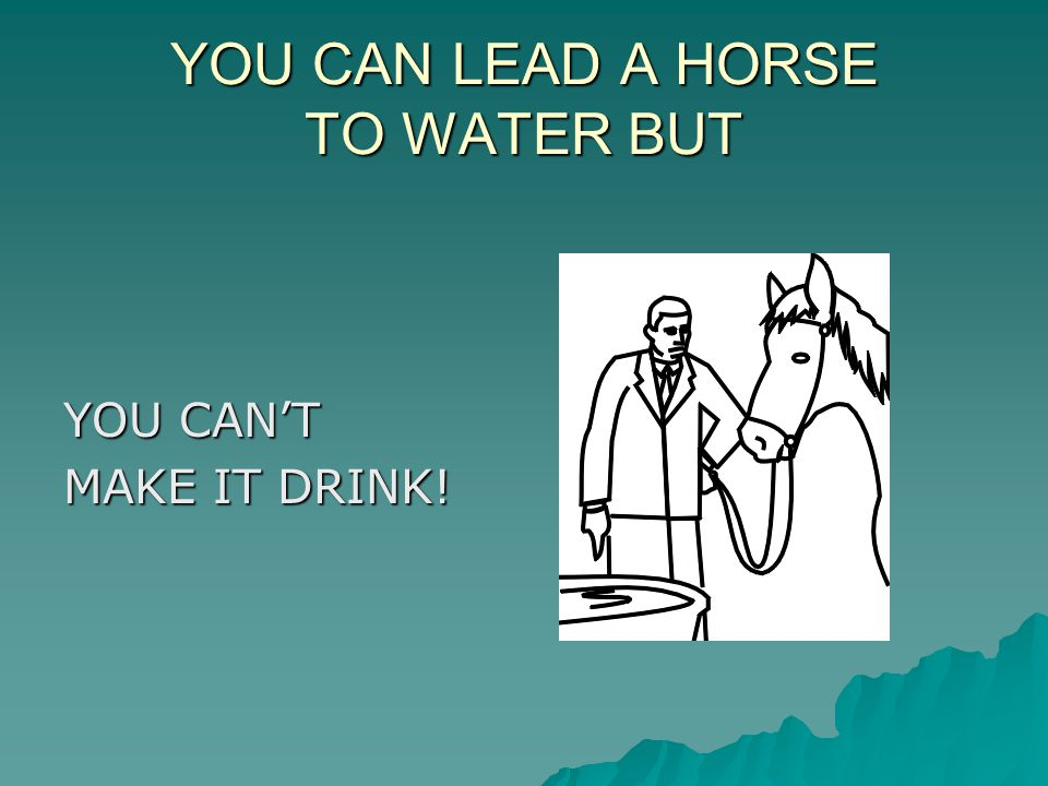 YOU CAN LEAD A HORSE TO WATER BUT YOU CAN'T MAKE IT DRINK!