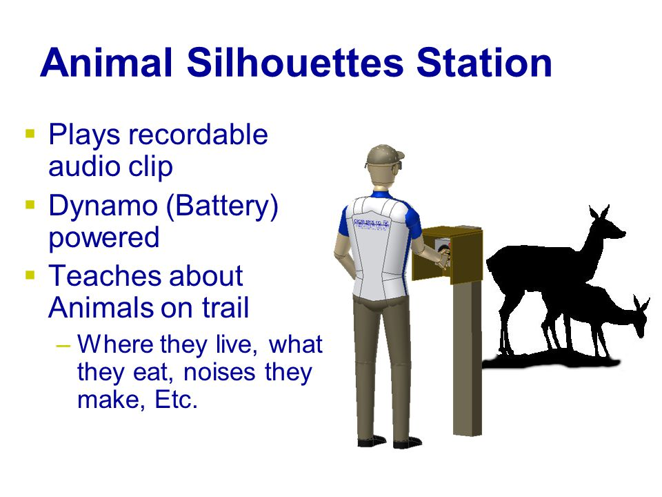 Animal Silhouettes Station  Plays recordable audio clip  Dynamo (Battery) powered  Teaches about Animals on trail –Where they live, what they eat, noises they make, Etc.