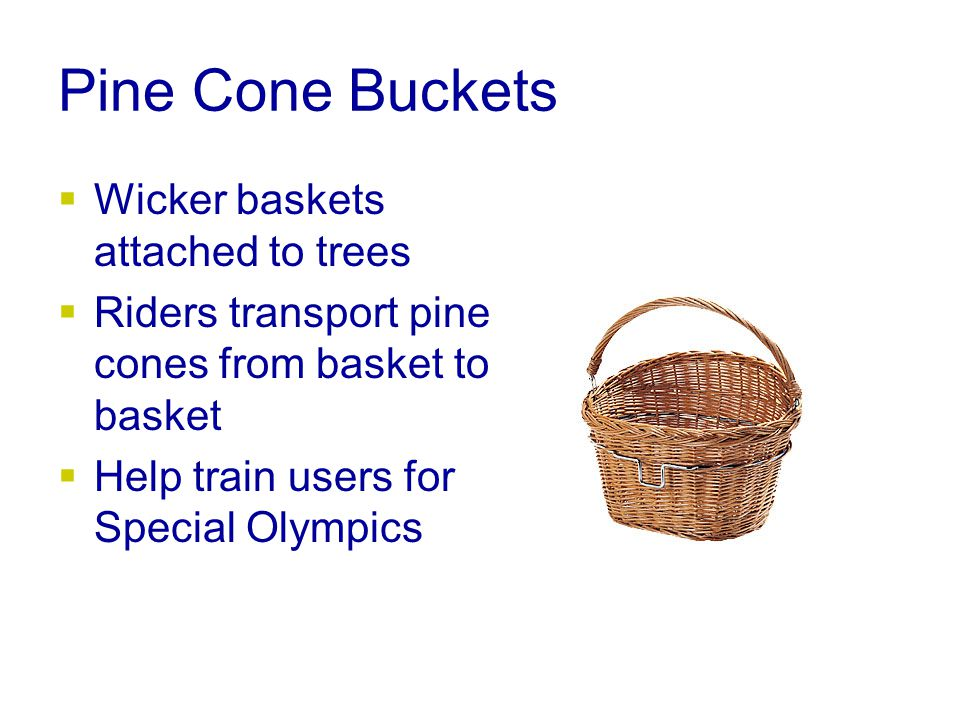Pine Cone Buckets  Wicker baskets attached to trees  Riders transport pine cones from basket to basket  Help train users for Special Olympics