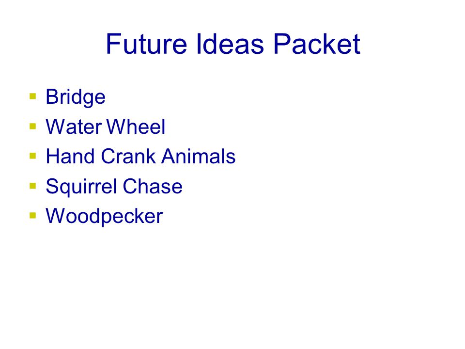 Future Ideas Packet  Bridge  Water Wheel  Hand Crank Animals  Squirrel Chase  Woodpecker