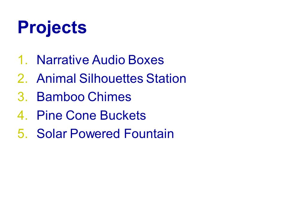 Projects 1.Narrative Audio Boxes 2.Animal Silhouettes Station 3.Bamboo Chimes 4.Pine Cone Buckets 5.Solar Powered Fountain