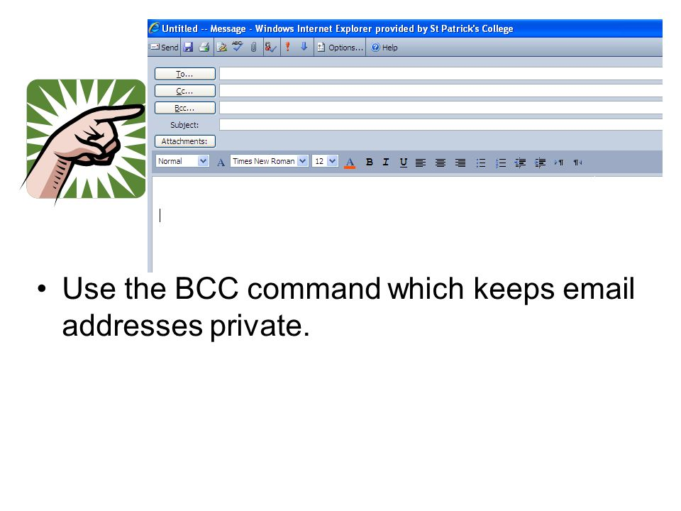 Use the BCC command which keeps email addresses private.