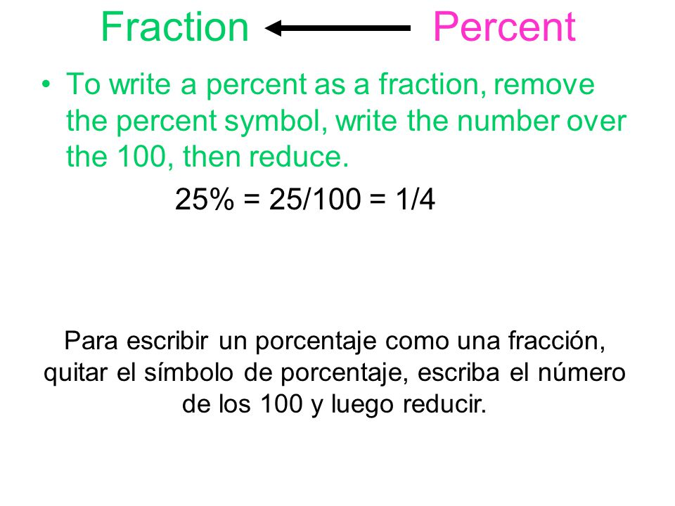 Fraction Percent To write a percent as a fraction, remove the percent symbol, write the number over the 100, then reduce.