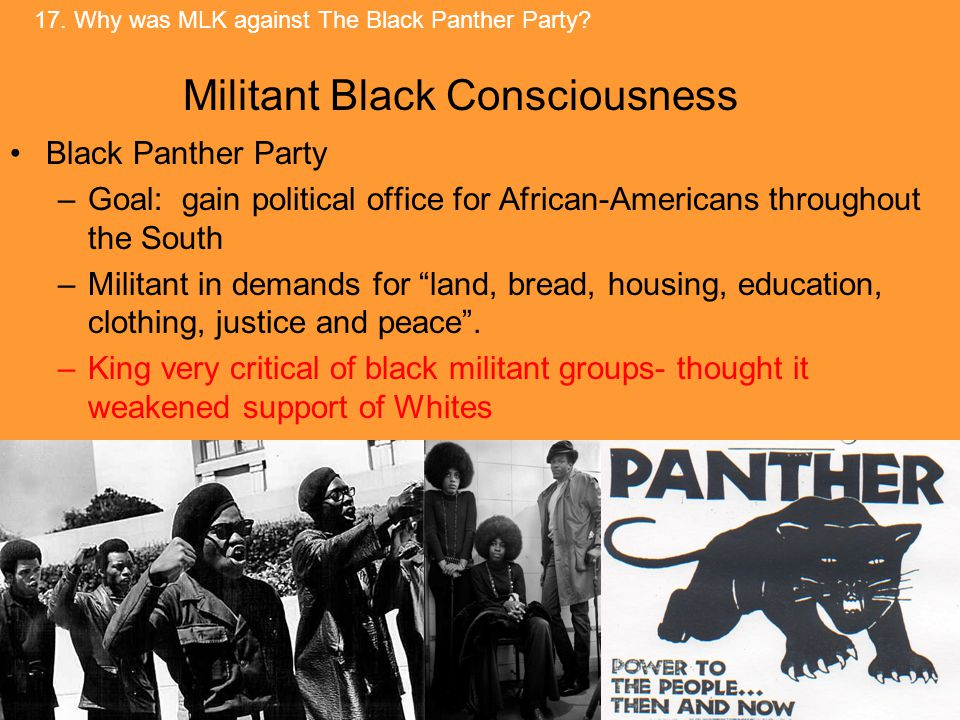 Black Panther Party –Goal: gain political office for African-Americans throughout the South –Militant in demands for land, bread, housing, education, clothing, justice and peace .