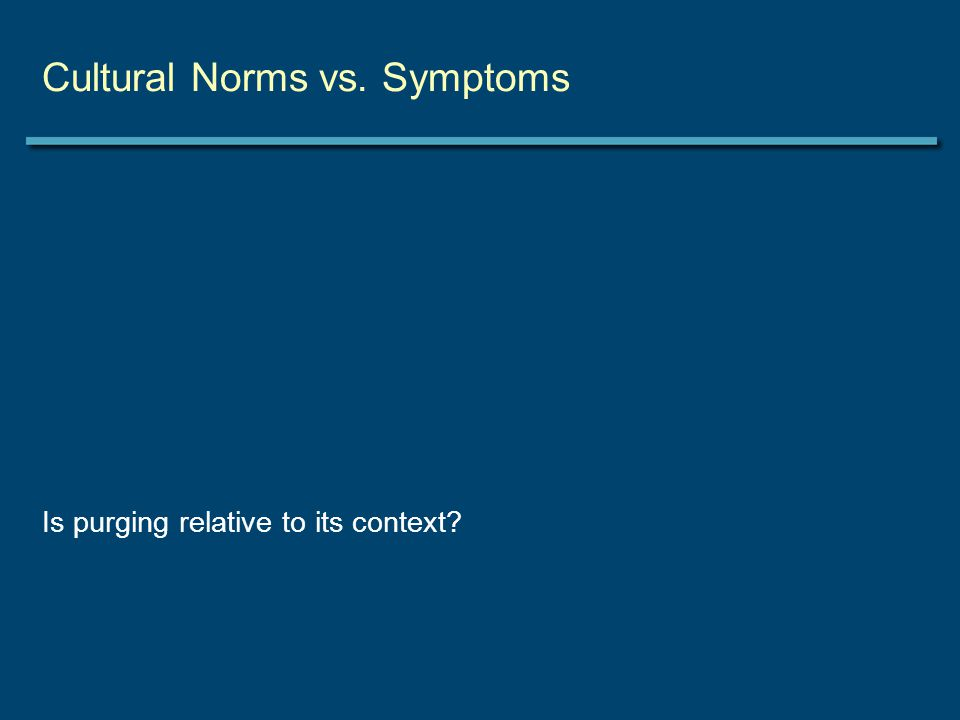 Cultural Norms vs. Symptoms Is purging relative to its context
