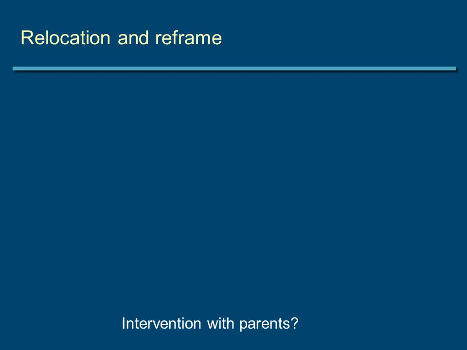 Relocation and reframe Intervention with parents