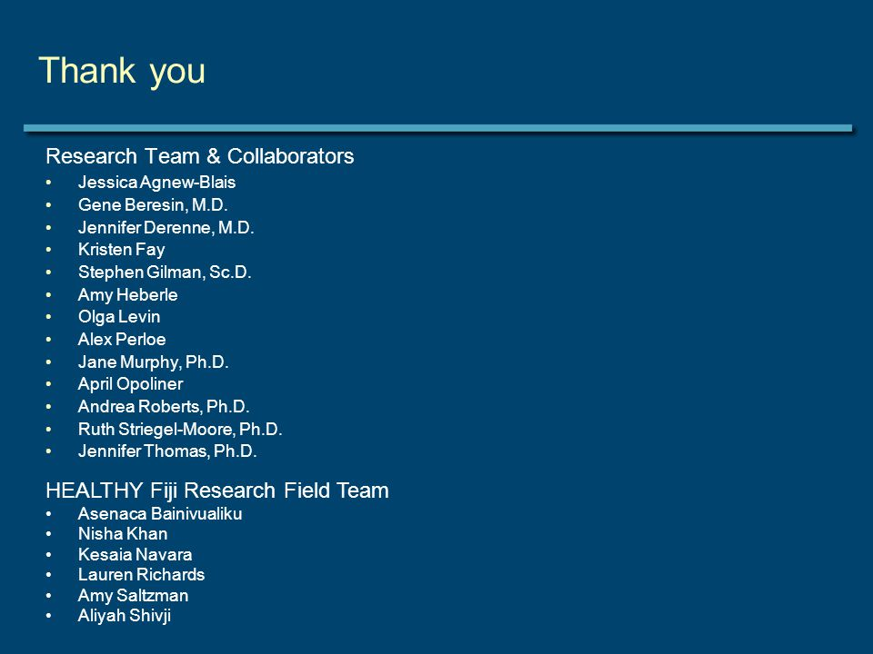 Thank you Research Team & Collaborators Jessica Agnew-Blais Gene Beresin, M.D.