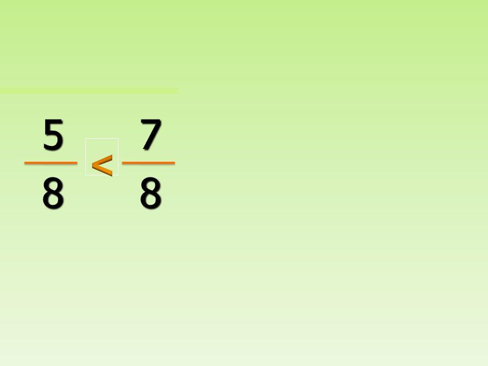 Cuando los denominadores son los mismos, la fracción con el numerador mas grande es la fracción mayor