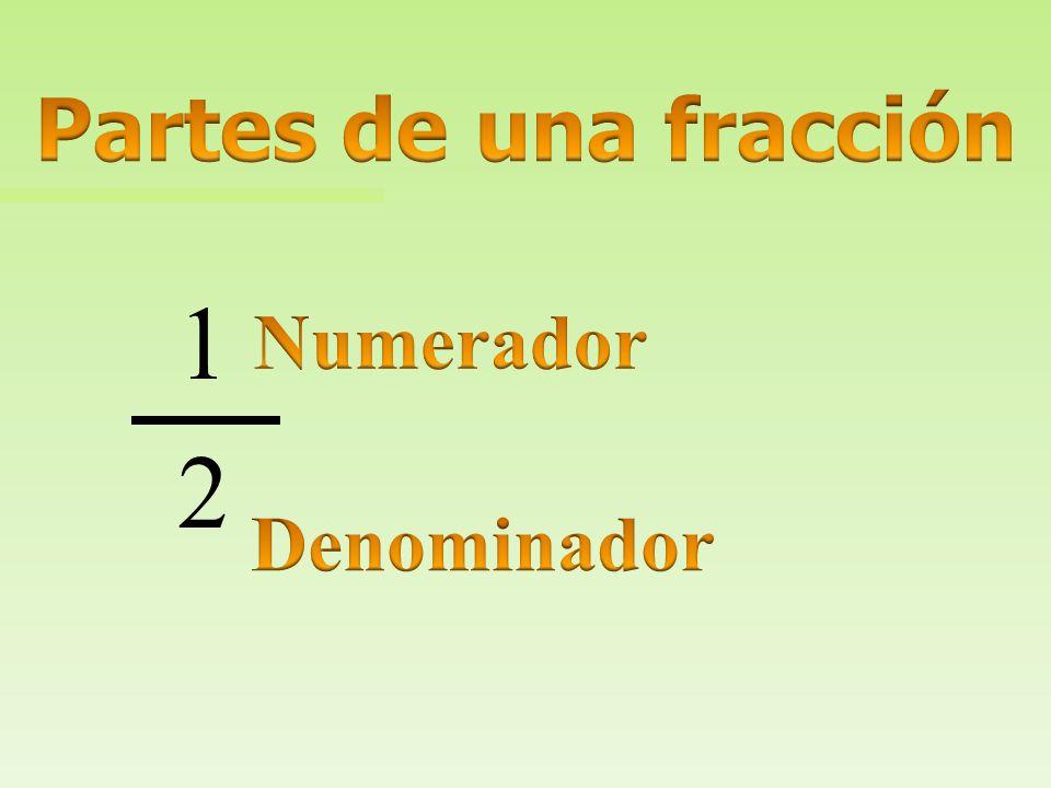n Fraction: fracción n Numerator: Numerador n Denominator: Denominador n One half: un medio n One whole: un entero