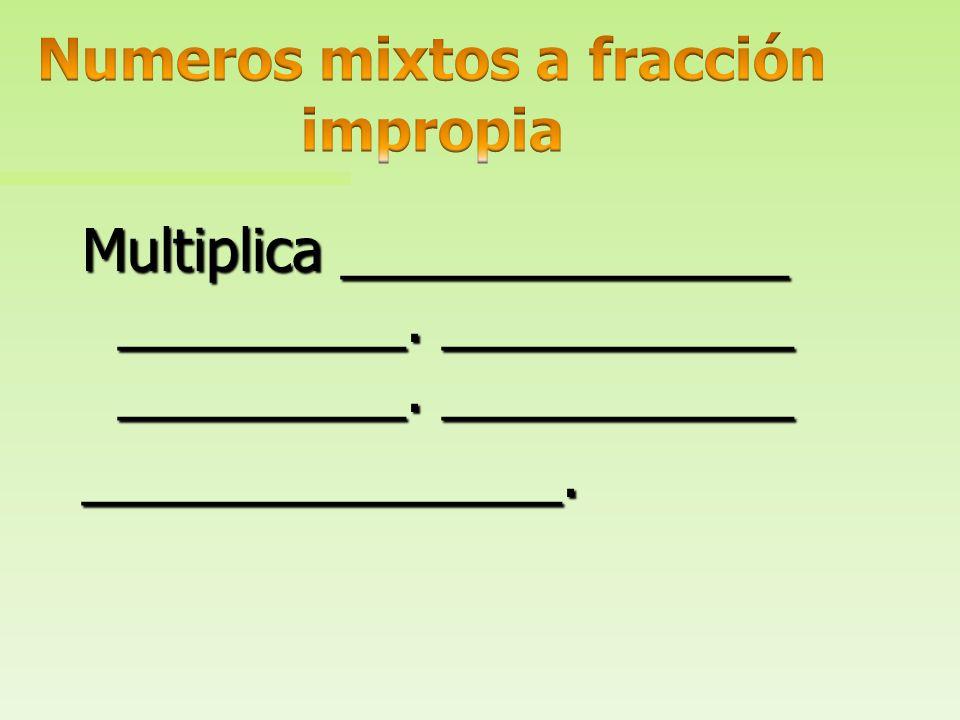 Multiplica ______________ _________. ___________ _________. El denominador permanece igual.