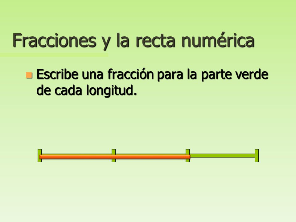 Fracciones y la recta numérica n Dibuja una recta numérica que represente cuartos.