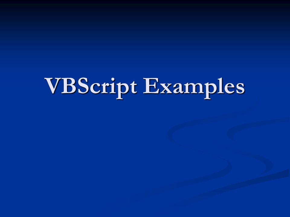 VBScript Examples