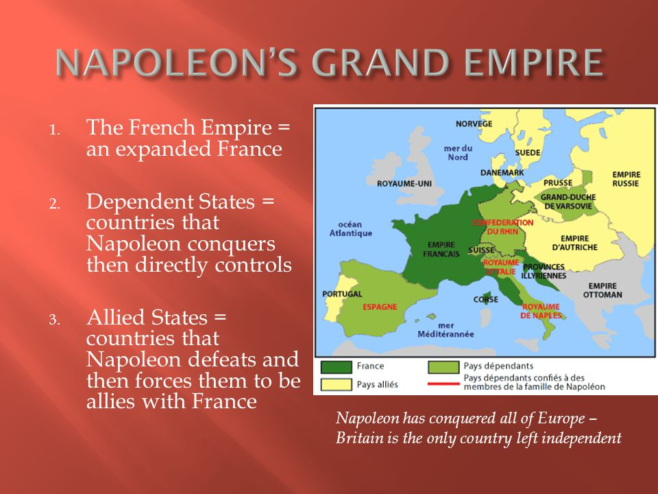 1. The French Empire = an expanded France 2.