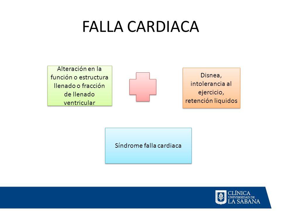FALLA CARDIACA Alteración en la función o estructura llenado o fracción de llenado ventricular Disnea, intolerancia al ejercicio, retención liquidos Síndrome falla cardiaca