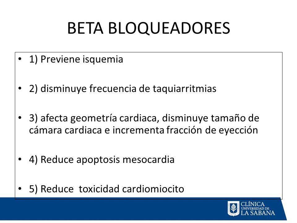 BETA BLOQUEADORES 1) Previene isquemia 2) disminuye frecuencia de taquiarritmias 3) afecta geometría cardiaca, disminuye tamaño de cámara cardiaca e incrementa fracción de eyección 4) Reduce apoptosis mesocardia 5) Reduce toxicidad cardiomiocito
