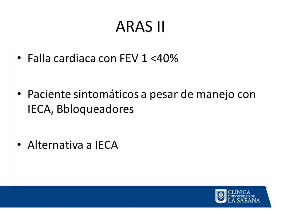 ARAS II Falla cardiaca con FEV 1 <40% Paciente sintomáticos a pesar de manejo con IECA, Bbloqueadores Alternativa a IECA